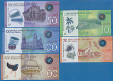 Nicaragua Set of 5 Polymer notes 10 20 50 100 200 Cordobas New 2014 (2015) UNC