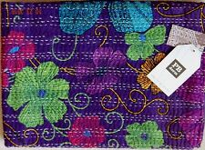 Pottery Barn Teen Kantha TWIN COVERLET Purple Plum Pink Green Blue Floral Stitch