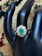 Genuine diamonds and emerald yellow 14 Ct gold ring. Zales Designer Signed Ring.