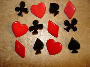 Lot of 12 red & black card plastic buttons