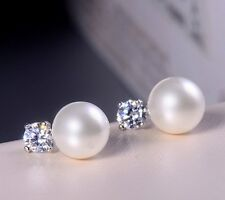 7-8mm Freshwater Pearl Sterling Silver Cubic Zirconia Stud Earrings Gift Box PE