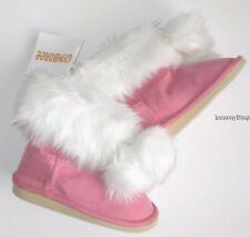 Gymboree Cozy Cutie Boots Sz 4 Baby Girls New Pink Faux Suede Fur Winter Booties