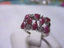 8 Stone Sterling Silver Ruby Ring 8 oval cut Real Pink Ruby 925 silver size 6