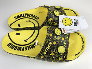 Crocs Smiley Classic Slide Sandal Men 10, Women 12 Black & Yellow Smiley New