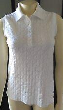 Callaway Golf Sz-XS White Cotton Blend Jacquard Knit Sleeveless Polo Top--Mint