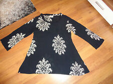 THE MASAI CLOTHING BLACK/WHITE FLOWER PRINT VISCOSE A-LINE BLOUSE TOP-S,8/10-UK