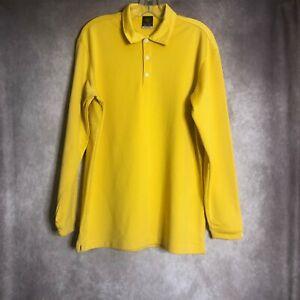 Nike Mens Shirt Size Medium Yellow Sphere Dry Long Sleeve Polo Golf Collared