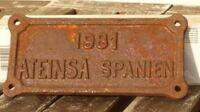 Lokschild, Fabrikschild,Typenschild ATENSA Spanien von 1981 Herstellerschild