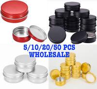 5-250ml Empty Aluminium Cosmetic Pot Jar Tin Container Box Screw Lid Craft Lot