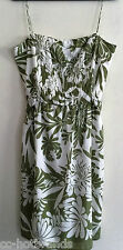 ANN TAYLOR $128 Dress Cotton Silk-Lined Green & White Floral NWT Size 14