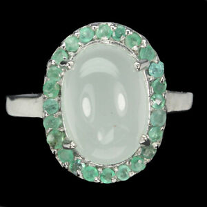 Oval Dyed Chalcedony 11x8mm Emerald White Gold Plate 925 Sterling Silver Ring 7