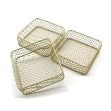 Cream Wire Storage Basket Desks Shelves Organizer Trinkets Container Set of 3