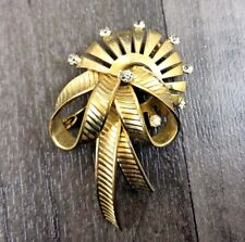 Gold Tone Pin Brooch Badge Vintage Tied Ribbon Sunbeam Faceted Rhinestones