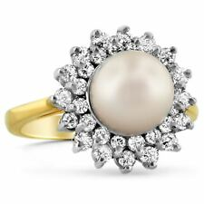 3.70 Cts Round Brilliant Cut Natural Diamonds Pearl Cocktail Ring In 18K Gold