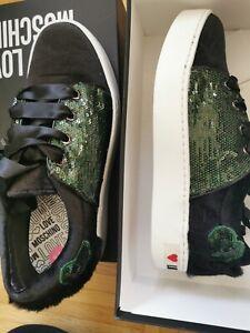 ** LOVE MOSCHINO Sneakers Schuhe Fell Pailletten Schwarz Grün Gr. 38 Neu **