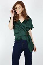 Emerald Satin Wrap Blouse - Brand New - Size 14