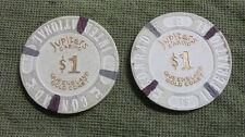 #D291.  TWO CONRAD  JUPITERS   GOLD COAST  CASINO  PLASTIC $1  TOKENS