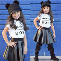 Toddler Kids Baby Girls T-Shirt Tops + Leather Pleated Skirt Outfits Clothes Set
