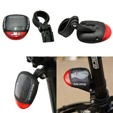 1Pc Red Bike Bicycle Solar Energy Rechargeable Red Tail Flash Light Rear Light f