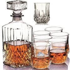 Set of 6X Crystal Whiskey Glasses with Decanter Bar Gift/Presentation Box Bday
