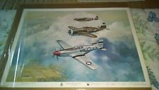 VINTAGE WORLD WAR II AIRPLANE PRINT SIGNED LIMITED EDITION CHUCK LONG RARE EST