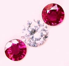 1.05 Carats Tol, Natural Loose Gems 2 Pcs Round Red Ruby 4.9x2.6 MM / 4.9x2.7 MM