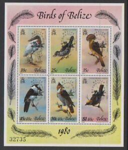 Belize - 1980, Birds, 4th series Optd sheet - MNH - SG 577/82