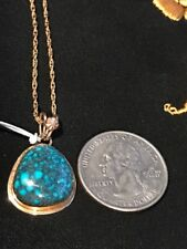 "Beautiful Yellow 14 k Pendant with Morenci Turquoise + 18""  Gold Plated Chain"