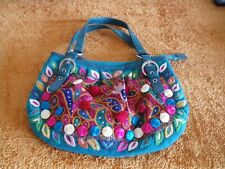 LUNA LLENA BLUE EMBROIDERED HANDBAG  (NEW WITHOUT TAG)