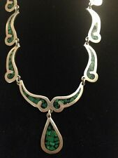 """925 STERLING VINTAGE 15"""" MALACHITE INLAY CHIPS HEAVY 57g NECKLACE MEXICO (c288)"""
