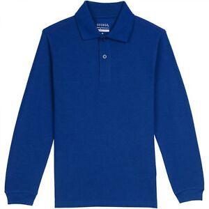 George Boys School Uniforms Long Sleeve Pique Polo Shirt        --A3--