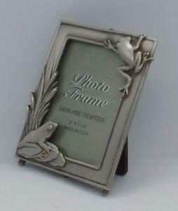 "Signes JJ Jonette Jewelry Silver Pewter PHOTO FRAME Frogs Theme  2"" x 2.5"""