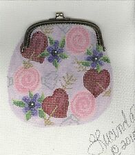 "NEEDLEPOINT ADORABLE ""VALENTINE PURSE W/CLASP"" #12 ct MONO CANVAS!!!"