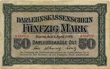Germany 50 Mark 1918 Kowno  East countries occupation WWI A049722