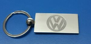 Personalised Chrome VW CAR Keyring In Gift box with your message ANY TEXT