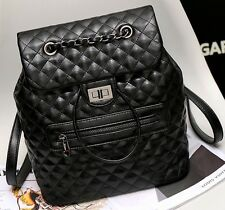 Quilted Bucket Chain Strap Black Faux Leather Backpack Flip Handbag