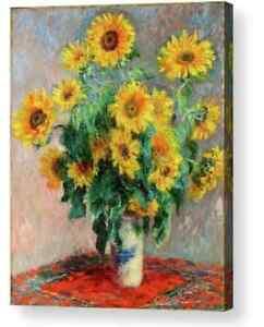Claude Monet Sunflowers Canvas Picture Art/ Photo Print  A4, A3, A2, A1