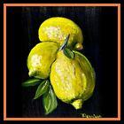 "Aceo Original Painting Naive Lemon, Kitchen ""Bitter Beauties"" by T Pendino"