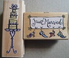 Rubber Stamps x 2, Inkadinkado Weddiing Cake & All Night Media Just Married, New