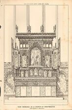 1884 ANTIQUE ARCHITECTURAL PRINT- NEW REREDOS IN A CHURCH AT WESTMINSTER