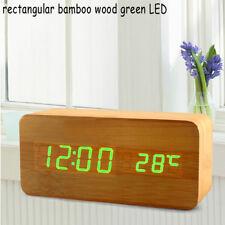 Voice Control Calendar Thermometer Wooden LED Digital Alarm Clock