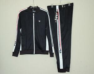 New FILA Men's Gym Fitness Jogger Tricot Tracksuit Jacket Pants Set Black SZ Med
