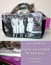 TOILETRIES BAG Faux Leather PURPLE Hen Weekend 1927 VINTAGE PHOTO Soul UK Gift