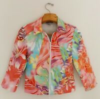 JOSEPH RIBKOFF Women's Stretch Jacket Top Sz 8 Floral Multicolor Full Zip Pocket