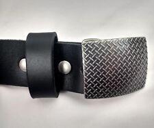 Bison Diamond Plate Colorado USA Genuine Leather Belt Black 36