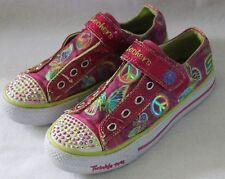 SKECHERS ~ Twinkle Toes Pink Green Glittery Butterflies Peace Design Sneakers 4