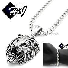 """20""""Men Stainless Steel 7mm Silver Cuban Curb Necklace Bracelet Lion Pendant*P50"""