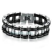 Biker Motorcycle Chain Link Men's Black Rubber Stainless Steel Bracelet Gift