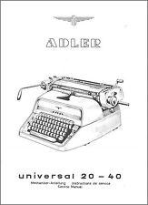 Mechaniker-Anleitung Adler Universal 20-40 Schreibmaschine Service Manual *470