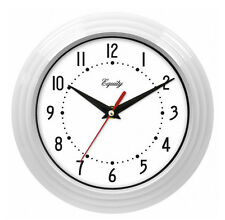 Equity by La Crosse White 8 Inch Wall Clock Quartz Metal Hands